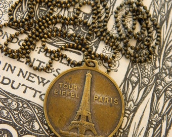 BRONZE EIFFEL MEDAL pendant vintage repurposed assemblage necklace jewelry handmade french arc de triomphe ball chain atelier paris on etsy