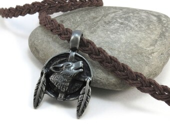 Howling Native Wolf Necklace,  Native-style Jewelry - Wolf Totem with Hemp Cord