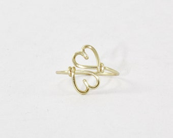 Double Hearts Ring, Hand made Wire Heart Ring, Heart To Heart Ring, Sweet Heart Ring,  Couples, Girlfriend Best Friends Gift, Adjustable