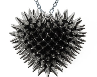 Spiked Heart Necklace in Silver