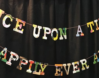 Once Upon A Time  Happily Ever After Board Book Garland -- THEMED WEDDING Bridal Baby Shower Repurposed Sustainable Party Decoration Decor