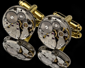 Watch Movement Cufflinks / Steampunk Cufflinks / Watch Cufflinks/ Sterling Silver Cufflinks or Gold Cufflinks/ Groomsmen Gifts/ 925 Jewelry