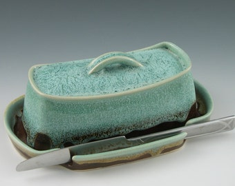 Butter Dish in Aqua and Brown Handmade Pottery