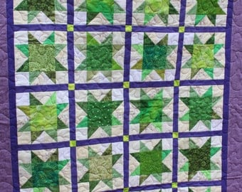 Lime stars- Toddler/Lap quilt- Lime and Purple