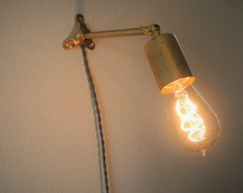 Brass Bare Bulb Wall Sconce with Rod Arm