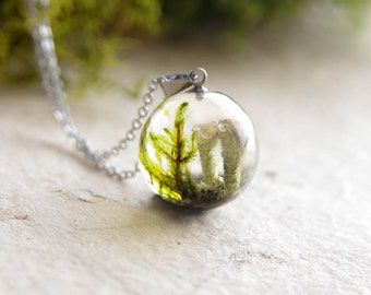 Pixie Cup Lichen and Moss Necklace - pixie resin jewelry - woodland sphere pendant