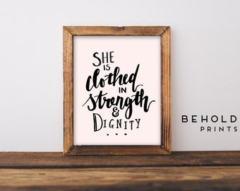 Gifts for Her, For her, She is Clothed in Strength, Proverbs 31, Christian Gifts, Christian Wall Art, Scripture Prints, Bible Verse Wall Art