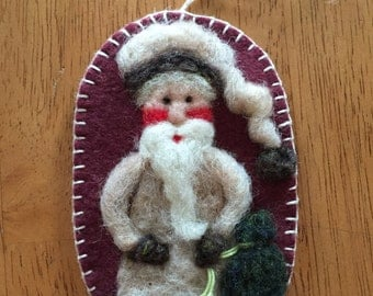 Needle Felted Santa With Tan Variegated Hat A Christmas Ornament Done On Wool Felt