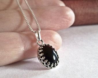 Black Onyx Necklace Black Stone Necklace Sterling Silver Necklace Onyx Jewelry Black Gemstone Necklace Filigree Necklace Gothic Jewelry