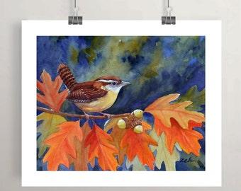 Bird art print carolina wren in oak tree autumn leaves fall watercolor print by Janet Zeh Original Art