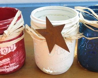 Ready to Ship 4th of July Jars/July 4th Candle Holders/ Americana Candle Holders/Quart Size Antique Rustic Jars/Patriotic Americana Vases