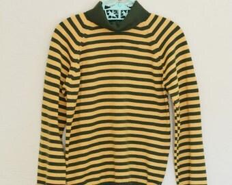 Vintage Shirt 1970s Long Sleeved Striped