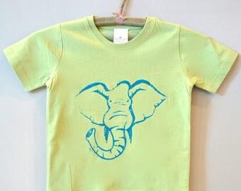 Elephant T-shirt, Organic T shirt  Blue Tshirt Children's Clothing Kids Clothes