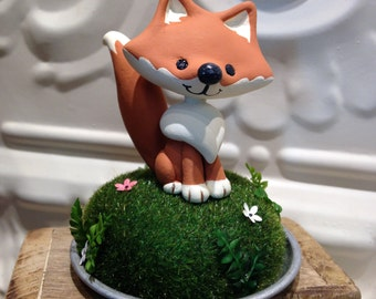 Woodland Fox Cake Topper  Birthday or baby shower cake topper- Animal cake topper - birthday celebration