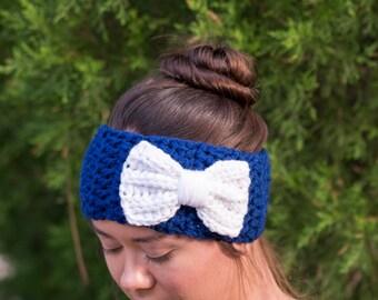 SALE--Blue and White Bow Headband, Crocheted Ear Warmer, Chunky, Crochet, Handmade Knitwear, Women's, Cozy, Knit, Warm Winter Accessory