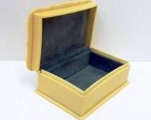 Art Deco Celluloid Jewelry Box French Ivory Trinket Box Ivory Jewelry Presentation Box Dusty Blue Velvet Lined Dresser Box Storage Box DD940