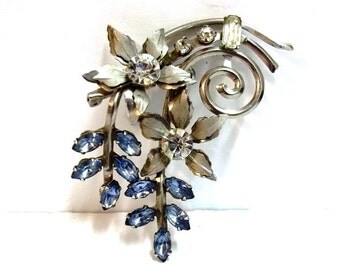 Light Blue Rhinestone Flower Bouquet Brooch Brushed Silver Floral Spray Pendant Brooch Woodland Wedding Baby Blue Bridal Brooch DD 717