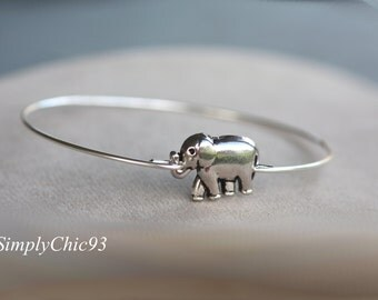 Lucky Elephant Bangle Bracelet, Boho Jewelry, Elephant Bracelet, Elephant Bangle,  Silver Elephant,Stacking Bangles