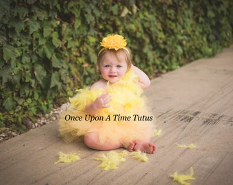 Yellow Chicken Tutu Dress - Girls Size Newborn 3 6 9 12 18 Month 2T 3T 4T 5 6 7 8 10 12 Halloween Costume Parakeet Canary Feather Wings