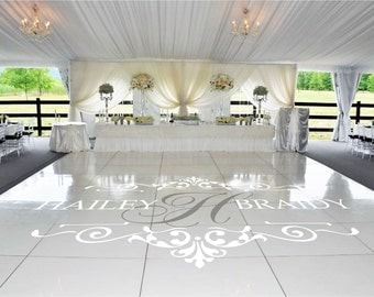 Wedding Dance Floor Decal, Bride Groom Names & Initial, Wedding Floor Monogram, Vinyl Floor Decals, Wedding Decor -  DFD0013