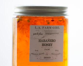 Habanero Honey - L.A. FARM GIRL Jams & Jellies For Rustic Farm Barn Cottage Chic Ranch Boho Favors