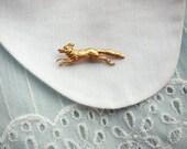 SALE tiny fleet fox - golden fox brooch