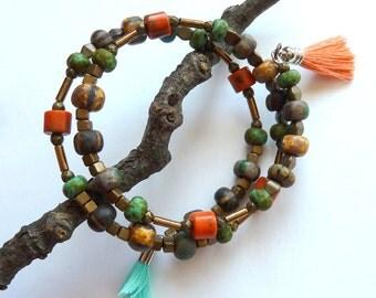 Bracelet, Multi Beaded Memory Wire Bracelet, Orange and Green Turquoise Beaded Bracelet, Tassels, Antique Brass and Tassel Bracelet