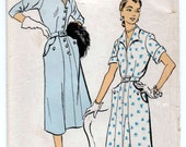 "1950's New York One-Piece Shirtwaist Dress with scalloped pockets Pattern - Bust 38"" - No. 1382"