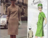 "1960's Vogue Paris Original One-Piece Dress with Double-Breasted Button Detail Pattern - Laroche - UC/FF - Bust 32"" - No. 1425"