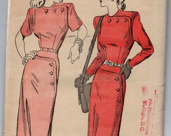 """1940's Advance One-Piece Dress with Button detailing on shoulder and hip Pattern - Bust 34"""" - No. 4748"""