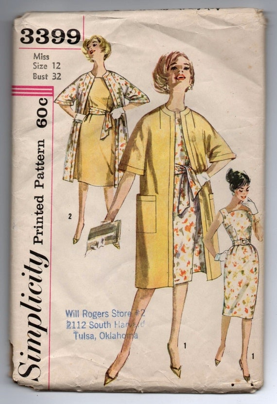 a2d2b8be1 1960 s Simplicity One-piece Dress with curved neckline and Coat pattern - Bust  32