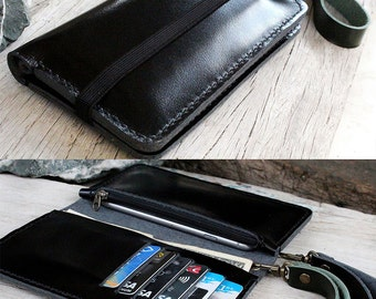 iPhone6/ 6s Black wallet with zip / elastic and wristlet strap