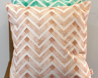 Copper Chevron hand block printed decorative scatter cushion cover 18x18""