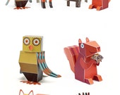 Forest Animals Paper Toys - DIY Paper Craft Kit - 3D Paper Animals - 4 Forest Animals