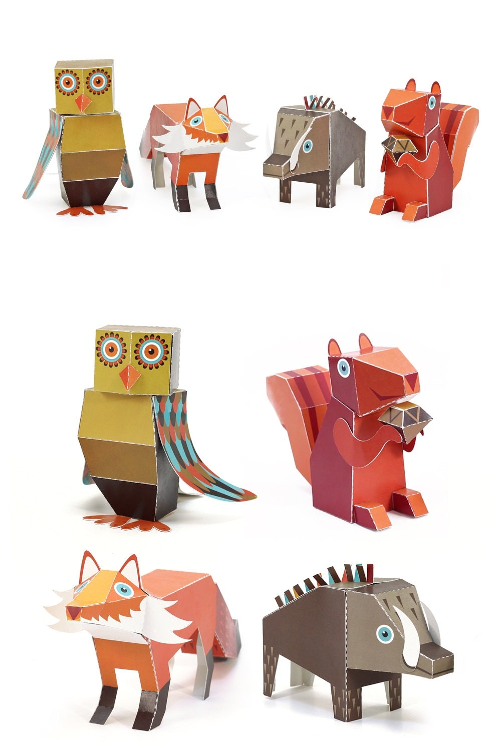 Forest animals paper toys diy paper craft kit 3d paper animals forest animals paper toys diy paper craft kit 3d paper animals 4 forest animals papercraft kids jeuxipadfo Image collections
