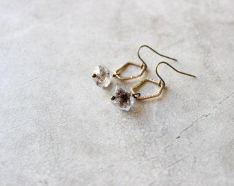 Brass Pebble + Herkimer Diamond Earrings, Crystal Quartz Earrings
