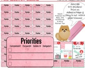 Priority Checklist Printable Planner Stickers DIY Print on Adhesive Paper PomPlanner Series