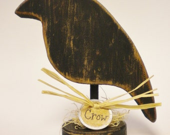 Crow Make Do - Made To Order, Wood Crow Decorations, Primitive Crows