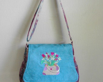 Messenger bag, large, batik, with embroidered flap by Florence