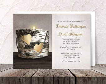 Rustic Candle Wedding Invitations and RSVP - Country Hearts Birch Bark Candle - Printed Invitations