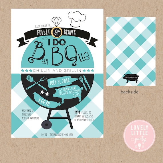 I Do BBQ Invitation, Wedding Shower BBQ, Co-Ed Wedding Shower, DIY Printable or Printed -  Lovely Little Party