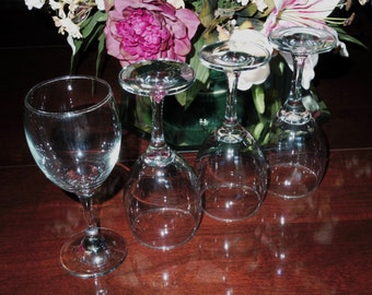 "4 GOBLETS NORMANDY CRYSTAL 12 Oz Clear Plain Wine Water Glasses Goblets Stems 7 1/8"" High No Trim Discontinued Glass Excellent Condition"