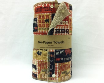 Unpaper towels, reusable paper towels, cloth paper towels, snapping paper towels -BBQ