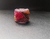 band ring, geometric ring, statement ring, multicolor ring, embroided ring