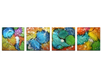 Colorful Abstract Art 'Sunny Days' - Rainbow Colored Art - Funky Metal Wall Art - Yellow, Blue, Green, Orange Abstract Artwork