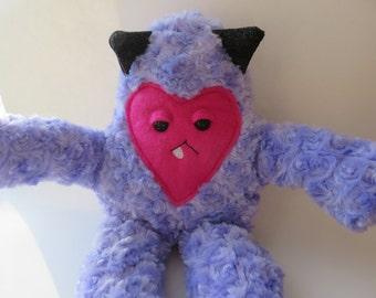 Handmade Plush Monster, Fuzzy Purple Plush, Purple Vampire Plush, Purple Monster Plush, Furry Monster Plush, Handmade Toy