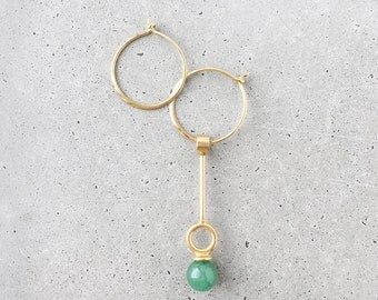 Stoned Gemstone Asymmetrical Hoop Earrings / Choker Necklace Multi-way / 14k gold vermeil / green aventurine
