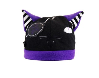 Pawstar PIRATE KITTY HAT You Pick Color Theme Black White Red Purple Cat Spooky Gothic Lolita Visual Kei Jrock Punk Embroidered Cute  1246