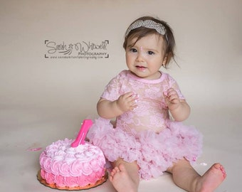 Pink Baby Birthday Clothing..Cake Smash Outfit..Girl Skirt and Top Set..Baby's 1st Birthday Outfit..Photography Prop..Baby Gift..Petti Skirt