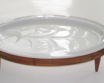 Vintage Fire King Milk Glass Meat Platter with Walnut Stand Mid Century